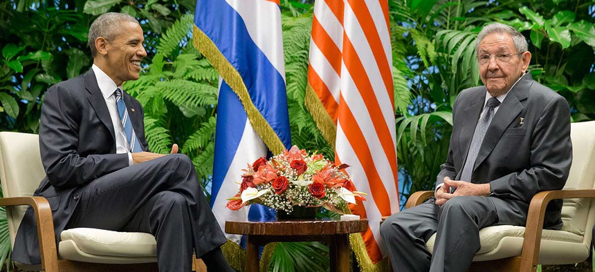 Barack Obama met with Cuban President Raúl Castro at the Palace of the Revolution Monday.