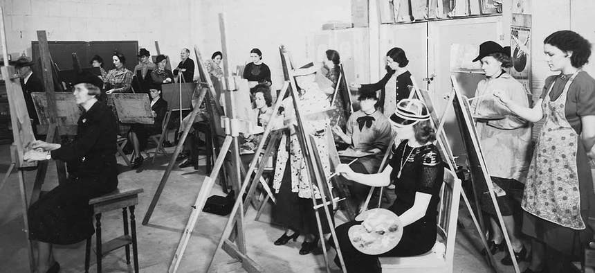 Students paint at a WPA Federal Art Center at the Municipal Auditorium in Oklahoma City, Oklahoma in 1941.
