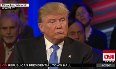Donald Trump at a CNN town hall in Milwaukee.