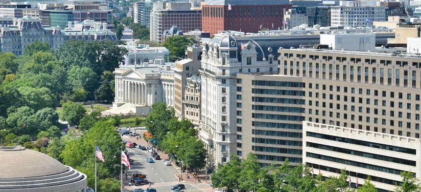 An aerial view of Washington's Pennsylvania Avenue.