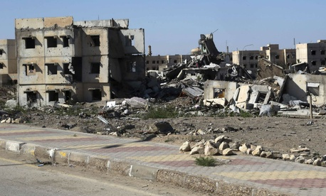 Destroyed buildings in Ramadi in early April.