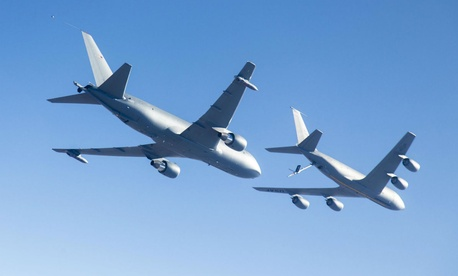Boeing's KC-46A conducts tests of aircraft acceleration and vibration exposure while flying in receiver formation at various speeds and altitudes behind either the KC-10 Extender or the KC-135 Stratotanker.