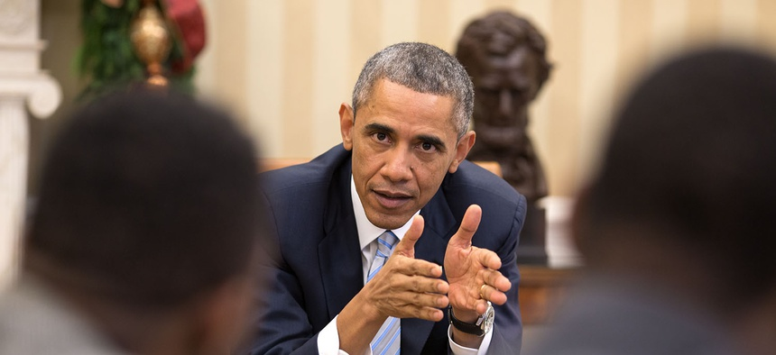 Obama meets with civil rights leaders in 2014.