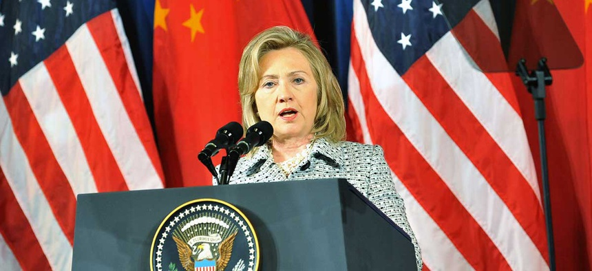 Clinton delivers remarks at the Opening Session of the U.S.-China Strategic and Economic Dialogue in 2011.