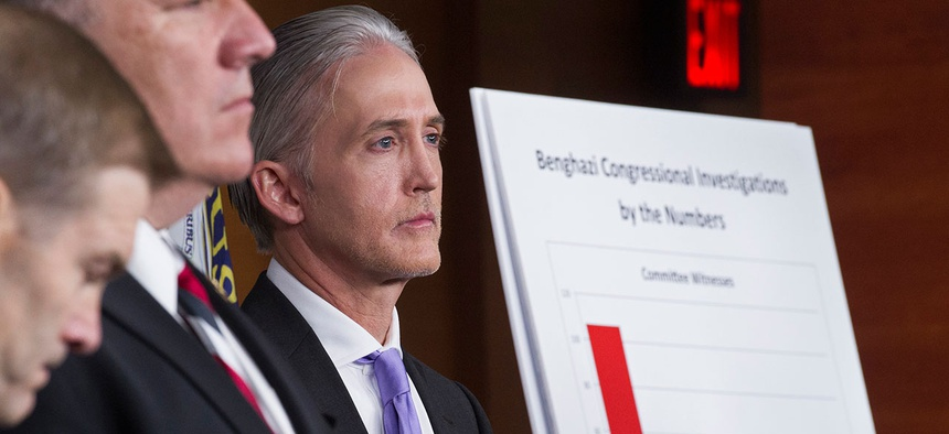 House Benghazi Committee Chairman Rep. Trey Gowdy, R-S.C., right, listens during a news conference Tuesday.