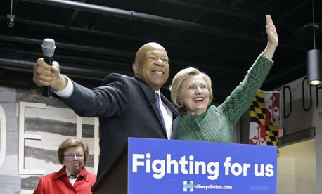 Hillary Clinton embraces Rep. Elijah Cummings, D-Md., at a campaign event in April. Cummings chairs the party's platform committee.