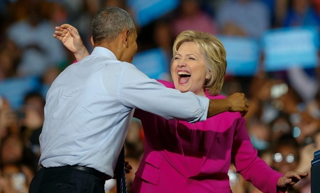 Obama campaigns with Clinton in North Carolina on Tuesday.