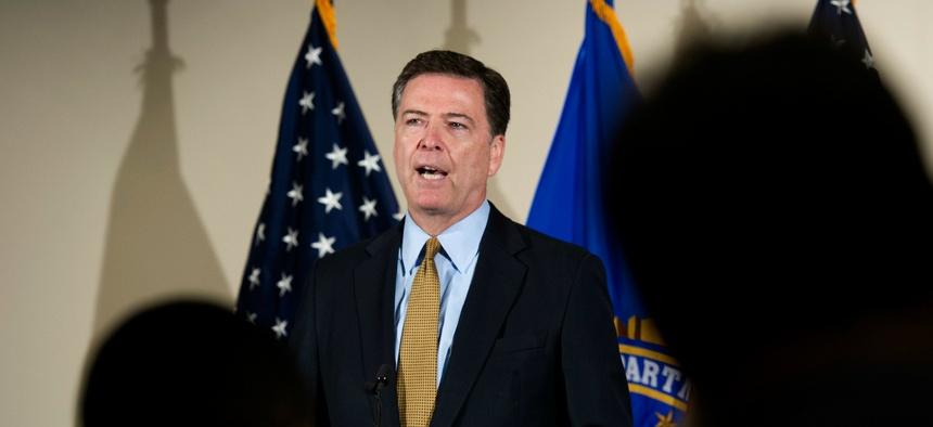 FBI Director James Comey spoke Tuesday at FBI headquarters.