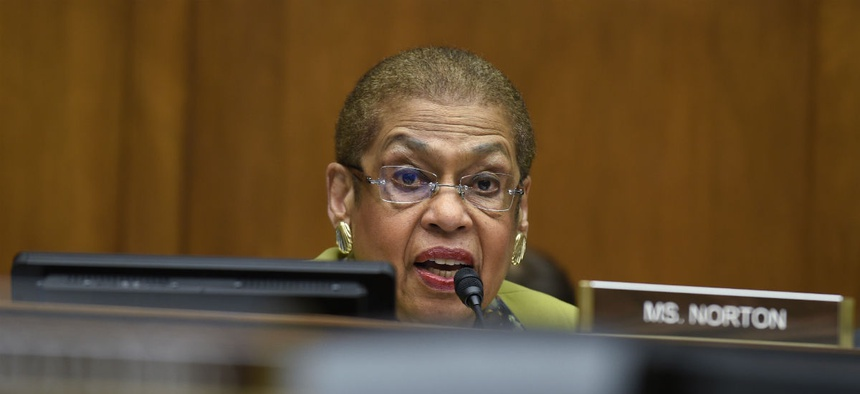 Del. Eleanor Holmes Norton, D-D.C., attempted to strike provisions making it easier to fire senior executives, but failed.