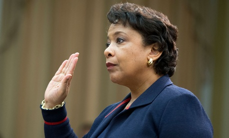 Attorney General Loretta Lynch is sworn-in on Capitol Hill Tuesday before testifying.