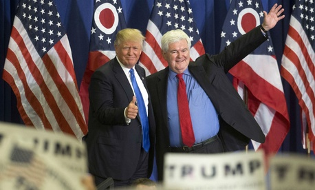 Republican presidential candidate Donald Trump (left) and former House Speaker Newt Gingrich, at a campaign rally in Cincinnati.