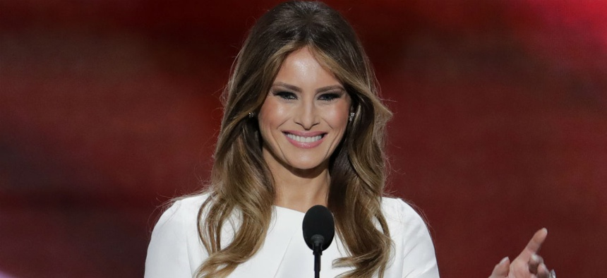 Melania Trump speaks during the opening day of the Republican National Convention.