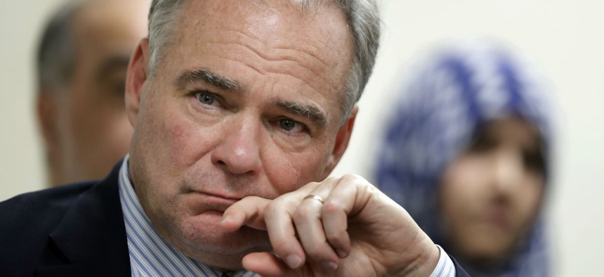 Sen. Tim Kaine, D-Va., attends a roundtable discussion on religious freedom with the regional interfaith community in Sterling, Va., Thursday.