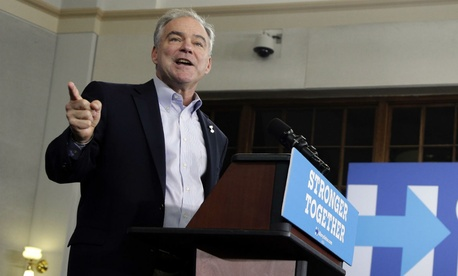 Democratic Vice Presidential candidate Sen. Tim Kaine speaks during a rally in Greensboro, N.C.,