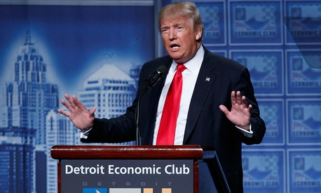 Republican presidential candidate Donald Trump delivers an economic policy speech to the Detroit Economic Club, Monday, Aug. 8, 2016.
