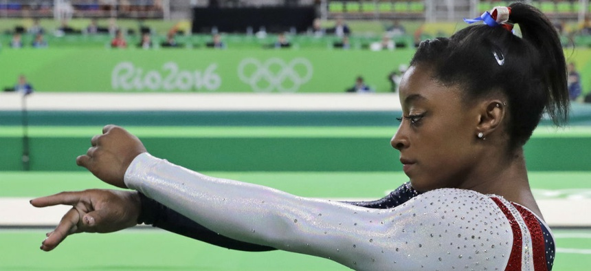Simone Biles prepares for the women's team final at the 2016 Summer Olympics in Rio de Janeiro on Aug. 9.