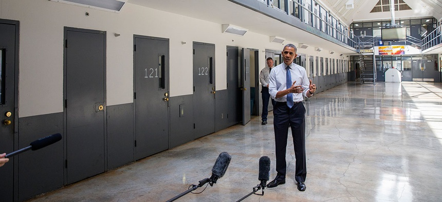 Barack Obama speaks on the topic of criminal justice reform at the El Reno Federal Correctional Institution in Oklahoma in 2015.