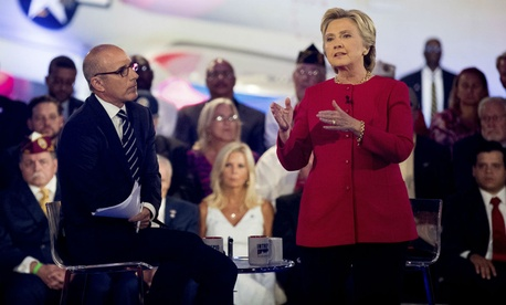 Democratic presidential candidate Hillary Clinton speaks at the live commander-in-chief forum Wednesday.