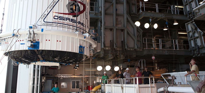 SIRIS-REx being transported from the PHSF to the VIF at Pad 41, then lifted to the Atlas V vehicle in preparation for launch.