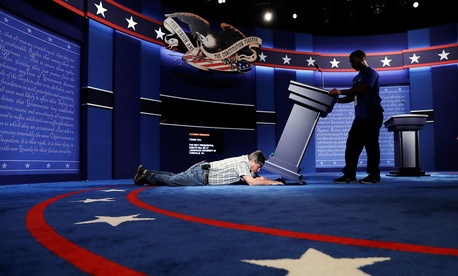 On Sunday, technicians set up the stage for the presidential debate.