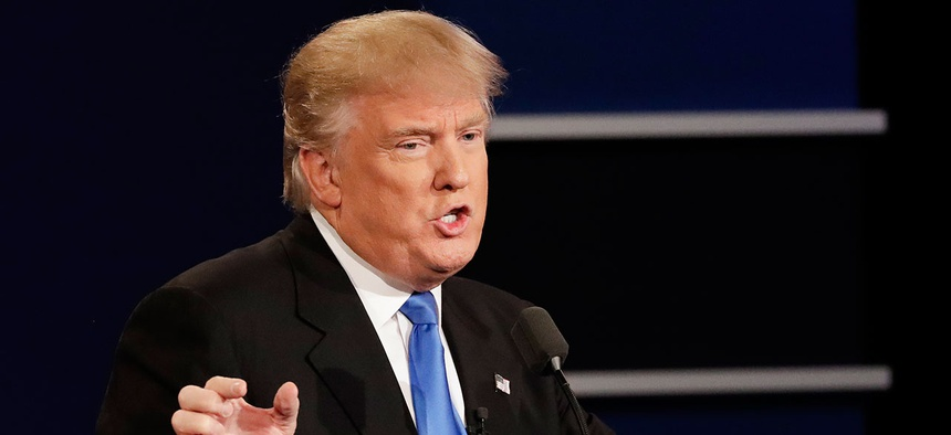 Donald Trump answers a question during Monday's debate.