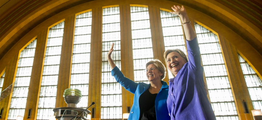 Sen. Elizabeth Warren, D-Mass., (left) campaigns with Democratic presidential nominee Hillary Clinton in Ohio in June.