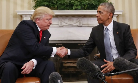 President-elect Donald Trump meets with President Obama in the Oval Office  on Nov. 10.