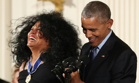 Barack Obama presents the Presidential Medal of Freedom to singer Diana Ross Tuesday.