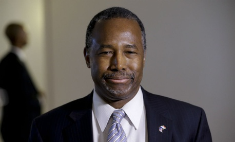 Then presidential candidate Ben Carson speaks during a campaign event at the University of Iowa in January.