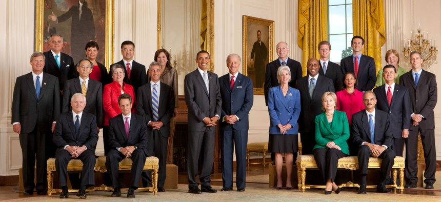 President Obama poses with his cabinet in 2009. He sought to create a more diverse federal workforce, starting at the top.