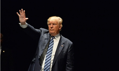 Donald Trump salutes supporters at the Peabody Opera House in Downtown St. Louis in March 2016.