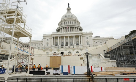 Construction continues on the Inaugural platform in preparation for the swearing in of President-elect Donald Trump.