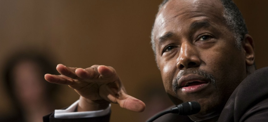 Housing and Urban Development Secretary-designate Ben Carson testifies on Capitol Hill Thursday.