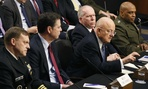 From left, NSA Director Adm. Michael Rogers, FBI Director James Comey, Director of the National Intelligence James Clapper, CIA Director John Brennan, and DIA Director Lt. Gen. Vincent Stewart testify at a Senate hearing on Feb. 9, 2016.