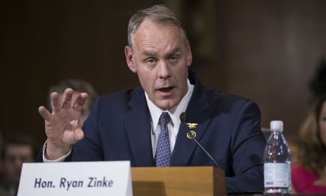 Interior Secretary-designate Rep. Ryan Zinke, R-Mont., testifies on Capitol Hill on Tuesday.