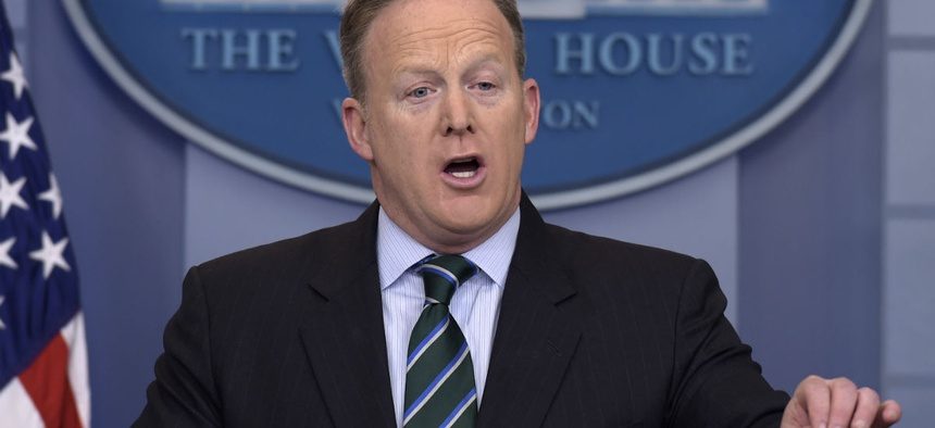 """""""Federal employee health and retirement benefits continue to be based on antiquated assumptions and require a level of generosity long since abandoned by most of the private sector,"""" said White House Press Secretary Sean Spicer."""