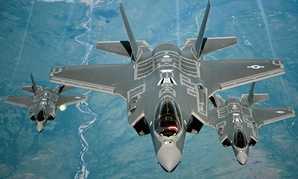 F-35A Lightning II aircraft receive fuel from a KC-10 Extender from Travis Air Force Base, Calif., on July 13, 2015.