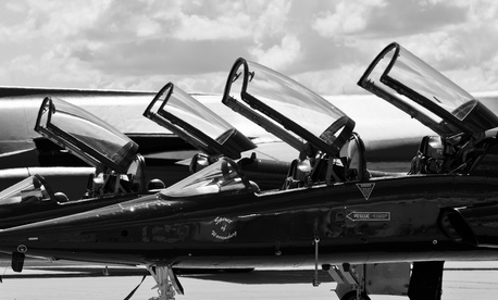 The Air Force's T-X program aims to replace the aging T-38 Talon training jet. Here, a pair of two-seat T-38s sits at Base Operations at Minot Air Force Base, N.D.