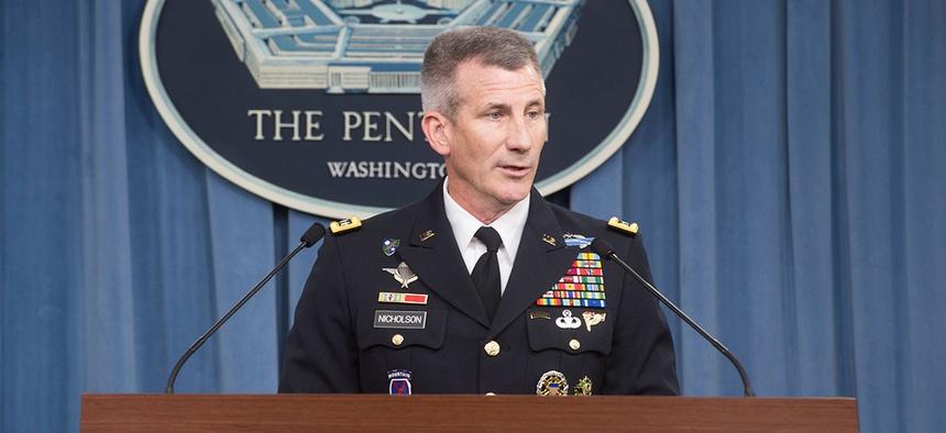 Gen. John Nicholson briefs reporters at the Pentagon in 2016.