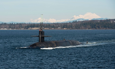 The Ohio-class ballistic-missile submarine USS Henry M. Jackson is shown in the Puget Sound on Feb. 13.