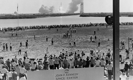 The Apollo 11 liftoff as seen from Launch Complex 39 press site, July 16, 1969