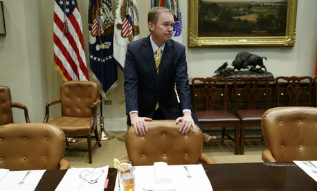 Budget Director Mick Mulvaney waits for the start of a meeting on the Federal budget with President Donald Trump on Feb. 22.