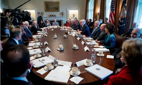 President Trump met with his Cabinet on Monday prior to the release of his budget proposal.