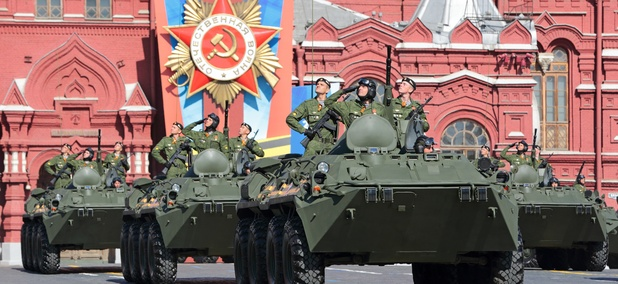 Russian vehicles participate in a 2014 parade in Red Square.
