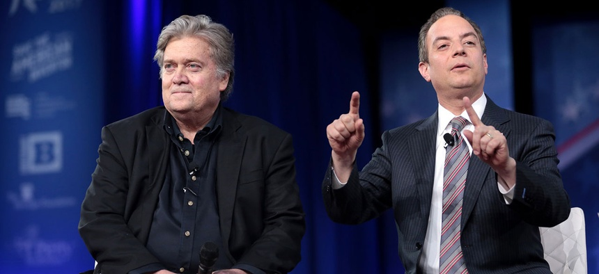 Steve Bannon and Reince Priebus speak at the 2017 Conservative Political Action Conference in February in Maryland.