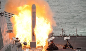 The guided-missile destroyer USS Sterett launches its first tomahawk land attack missile while testing its tactical tomahawk weapons system in 2014.