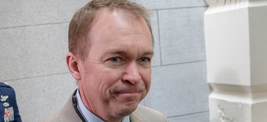 Mick Mulvaney arrives at the Capitol in March.