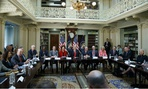 President Trump meets with business leaders in the Eisenhower Executive Office Building April 11 to discuss how to make government more efficient.