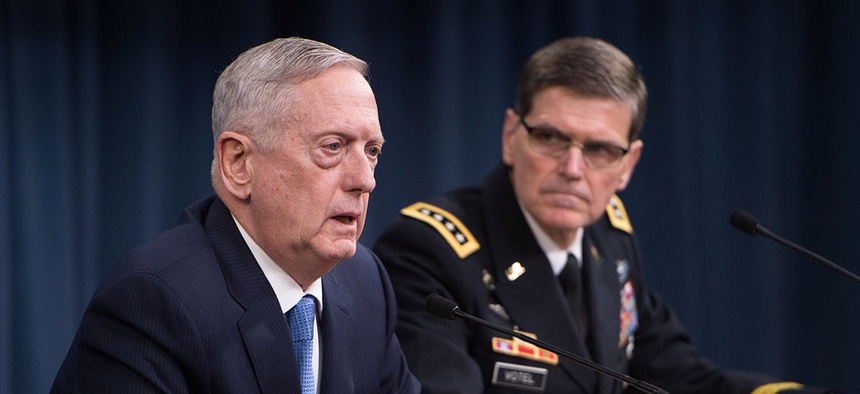 Secretary of Defense Jim Mattis and U.S. Army Gen. Joseph Votel, the commander of U.S. Central Command, brief the press at the Pentagon in Washington, D.C., April 11, 2017.