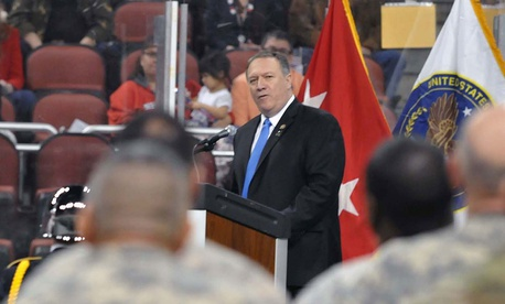 Mike Pompeo addresses Army Reserve Soldiers in Kansas in 2016.